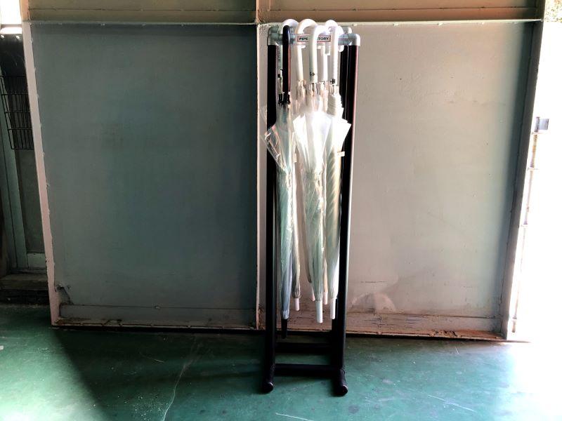 プラスチックパイプとジョイント傘掛け